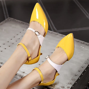 Covered Pointed Toe Color Block Buckle Ankle Straps Cone Heel Women Sandals 4551