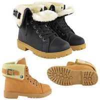 WOMENS LADIES SNOW WINTER FUR LINED ANKLE BOOTS FLAT LOW HEEL GRIP SOLE SIZE