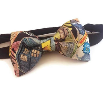 Dr Who Bow Tie • Pre-Tied Bow Tie • Tardis Bow Tie • Fathers Day Gifts • Doctor Who Bowtie • Tardis navy bowtie • Dr Who Gifts Wovian