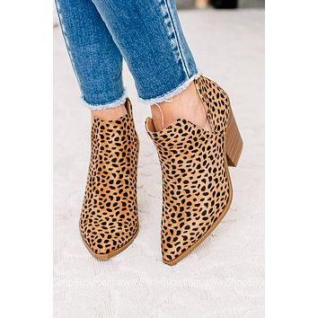 Upstream Spotted Cheetah Pointed Toe Booties