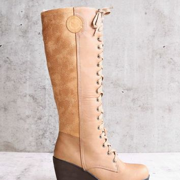 Lace Up Front Wedge Boots in Khaki