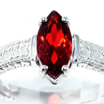 2 Carat Garnet Marquise Ring .925 Sterling Silver Rhodium Finish White Gold Quality