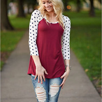 Block Polkadots Sleeve Shirt