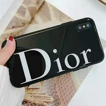 DIOR iPhone Shell Luxury Tide Men Tide Simple Letter Mobile Shell Cover F0246-1 black