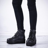 UPSLIDE Wedge Heel Lace Up Creeper Platform Ankle Boots - Black Leather Style