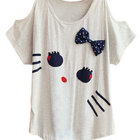 ROMWE Cat Shaped Bowknot Off shoulderT-shirt