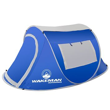 Wakeman Pop-Up Tent 2 Person Water Resistant Blue