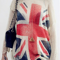 UK Flag Long Sleeve with Ripped Accent Tunic Top