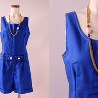 Vintage 60s - Royal Blue Zip Up Belted - Sleeveless Tank - Shorts Suit Onesuit Romper Playsuit