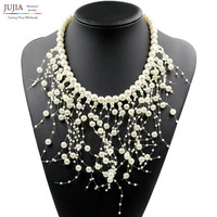 2016 New fashion simulated pearl necklace Z bib collar necklace & pendant luxury choker tassel Necklace statement necklace
