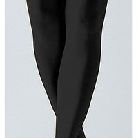 Black Solid Opaque Thigh High Stockings by Foot Traffic