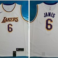 Nike Los Angeles Lakers #6 LeBron James Swingman Basketball Jersey White