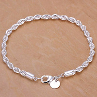 NEW 925 Sterling Silver Women Twisted Rope Solid Bangle Bracelet Chain Wristband = 5617250241