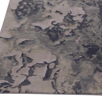 Abstract Grey Color Hand Knotted Tibetian Modern Style Woolen Area Rug