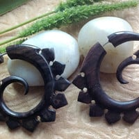"""Fake Gauge Earrings, """"Fin Spirals"""", Snapper Style, Natural, Sono Wood, Handcrafted"""