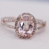 STOCK!!! VS 6x8mm Pink Morganite Ring Diamond Wedding Ring 14K Rose Gold Oval Morganite Ring Engagement Ring