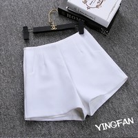 Summer High Waist Shorts Hot Shorts Casual Fashion Solid Pockets Zipper Fly Slim A Word Shorts Ladies Sexy White Black Shorts