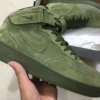 [FREESHIPPING] Nike Air Force 1 Mid 07 Legion Green 315123-302 QS Olive AF1 Army suede