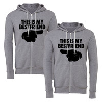 BEST FRIENDS matching couple zipper hoodie