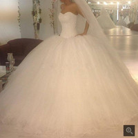 2016 Ball Gown Sweetheart Backless wedding Dress Pearls Puffy Wedding Robe De Mariage Tulle Bride Dresses princess wedding gown