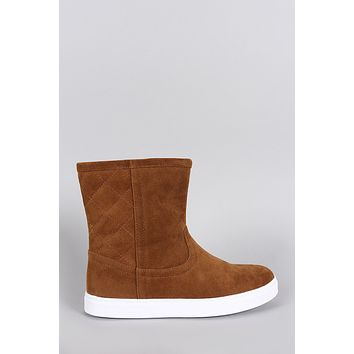 Quilted Suede Round Toe Flat Ankle Boots
