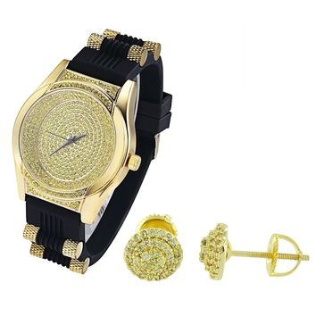 Men's Oval Shape Canary  Watch with Silicone Bullet Band & Earrings Combo Set