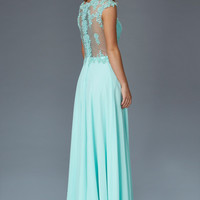 G2136 Cap Sleeve Sheer Illusion Chiffon Prom Dress Evening Gown