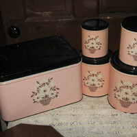 vintage retro cottage chic pink and black breadbox and 4 pc canister set by Decorware