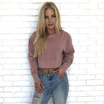 Perhaps Not Rose Crop Top Sweater