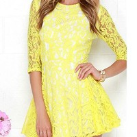 Yellow Lace Dress - Three Quarter Sleeves / Rounded Neckline
