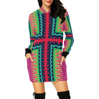 Waves in retro colors All Over Print Hoodie Mini Dress (Model H27) | ID: D2454842