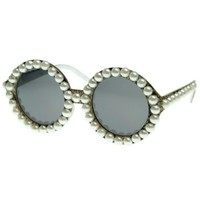 Vintage Inspired Pearl Round Fashion Circle Sunglasses (Snake Pearl)