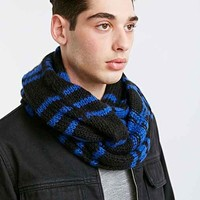 Plaid Cable Knit Eternity Scarf-