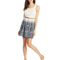 A. Byer Junior's Sleeveless Scoop Neck Belted Dress with Printed Skirt