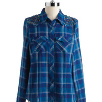 Women's Apparel   Blouses & Button Downs    Cotton Studded Plaid Shirt   Lord and Taylor
