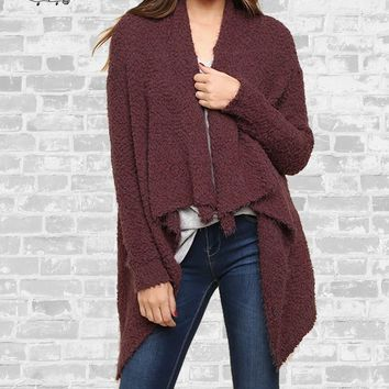 Waterfall Popcorn Cardigan - Red Bean - S, M, L & 1X