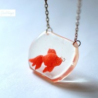 Gold fish Portable Tank Clear Transparent Pendant - Pet lover gift one of a kind unique