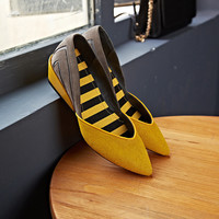 Wedge Leather Pointed Toe With Heel England Style Low-cut Shoes [4920566532]