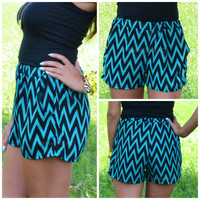 Wave Maker Jade Chevron Shorts