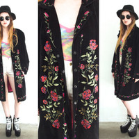 Vintage 90s VELVET FLORAL Embroidered Black Maxi Duster Coat Jacket // Boho Gypsy Grunge Hipster Hippie // Small / Medium / Large
