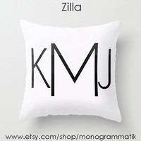 """Monogram Personalized Custom """"Zilla"""" Pillow Cover 16"""" x 16"""" Initials Unique Gift for Her Him Couch Bedroom Room White Black Ombre"""