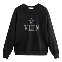 Valentino sells reflective monoque printed long-sleeved hoodies with casual stylish round-necked hoodies Black
