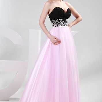 Pink and Black Strapless Floral Beads Prom Dress