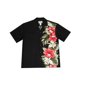 KY's Mens Black Button Down Hawaiian Shirt with Side Flower Design