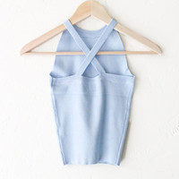 Criss Cross Back Sleeveless Top - Dusty Blue