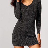 Grey V-Neck Ribbed Sweater Dress