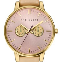 Ted Baker London 'Dress Sport' Multifunction Leather Strap Watch, 40mm | Nordstrom