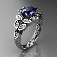 Art Masters Nature Inspired 14K White Gold 1.0 Ct Oval Royal Blue Sapphire Diamond Leaf and Vine Solitaire Ring R267-14KWGDBS