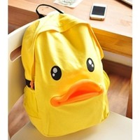 Cute Duck Canvas Backpack-yellow