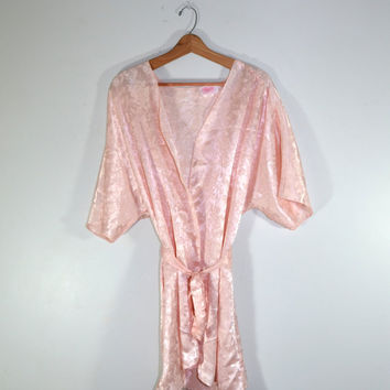 Vintage Lingerie Silk Robe Peach Robe 1980s Lingerie Floral Print Robe Valentines Day Gift Wedding Shower Gift Size Large